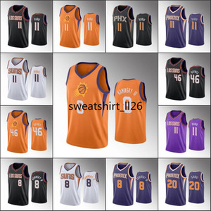 Erkekler Basketbol Jersey Ricky Rubio AronAnka kuşunba Baynes Frank Kaminsky III Dario SariçSuns 2019-20 Formalar
