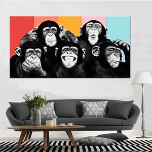 Funny Monkey Creative Canvas Painting Graffiti Street Art Posters Prints Modern Animals Wall Art Pictures Kids Room Nursery Decoration