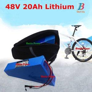 48v 20ah lityum iyon bisiklet elektrikli bisiklet kiti için torba ile pil üçgen bateria 500w 1000w + 3A şarj