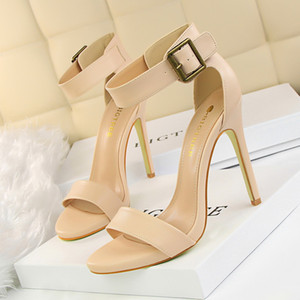 Women Sandals Summer Wedding Shoes High Heels Leather Peep Toes Buckle Strap Woman Party Shoes Black Sandalia Mujer
