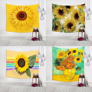 Sunflower tapestry Sunflower Blanket 3D Printing Blanket 7 styles Tapestry Household art Fit Wall 130cm*150cm Background fabric A06
