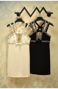 Splendida albicocca / cristalli neri vestito delle donne 2020 progettista delle donne di spaghetti Abiti Bow cinghie Vestiti De Festa 56893
