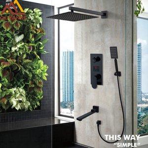 Matte Black LED Digital Display Shower Faucet Set Rain Waterfall Black Bathtub Shower System LCD Digital Shower Bath Mixer Tap T200710