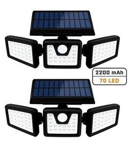Solar Luzes da segurança 3 Cabeça de sensor de movimento luzes ajustáveis 70LED luzes de inundação ao ar livre Focos 360 ° Rotatable IP65 impermeável para Porch