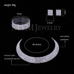 Crystal Silver claires Vente en gros autrichien bijoux en plaqué Ensembles ronde collier d'oreilles Bracelet pour les femmes accessoires de mariage TL294 + # SL090 sîte
