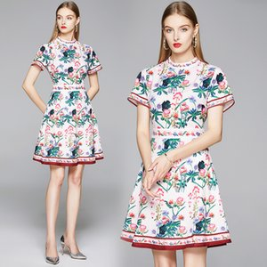 Floral Short Sleeve Dress for Women Small Stand Collar OL Jacquard Dress Summer Lady Dress Fashion Boutique Girl Dresses