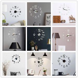 Orologio da parete Orologio da parete acrilico DIY specchio acrilico di arte 3D Specchio Sticker Home Office Decor regalo unico DHD4