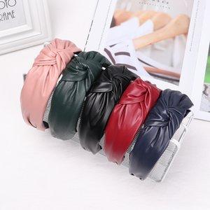Korean Trendy Handmade PU Leather Girls Hairbands Middle Knotted Headbands Fashion Fur Headband Head Hoop Women Hair Accessories