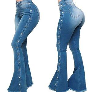 Kadınlar Jeans Stretch Slim Uzun Kadın Flare Jeans Casual Fermuar Fly Yüksek Bel Bayanlar Denim Jeans