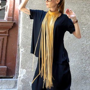 YDYDBZ Neue Luxus-Leder-Halskette für Frauen lange Quaste Halskette 6 Farbe High Street Leder Schmuck Böhmen Kleidung Zubehör