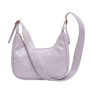 2020 Женские сумки Crossbody сумки пу кошельки и сумки багета мешка фиолетовый формы луны дизайнер плечо сумки камень черный мешочек