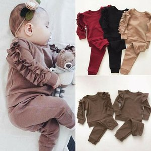 2Pcs Set Newborn Baby Girls Ruffle T-Shirt Tops + Leggings Pants Outfits Clothes Long-Sleeve Autumn Winter Warm Infant Clothing