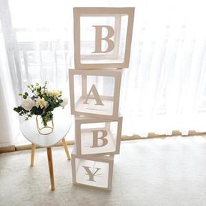 Fuentes de la ducha del banquete de boda transparente caja Globos Decoraciones decoraciones del partido del bebé primero bebé Uno de cumpleaños regalo de la decoración Babyshower