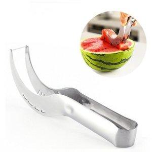 Watermelon Slicer Schneidklemm Slicing Artifact Edelstahl Cutter-Messer Melons Cutter corer Scoop Frucht-Gemüse-Werkzeuge DHE111