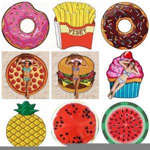 Beach Towel Fruits Polyester Beach Mattress Personalized Bikni Cover Ups Table Cloth Yoga Mats Donut Pizza Pineapple 13 Designs LJJA5790