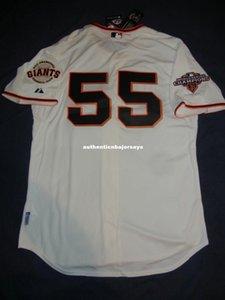 Top retro barato Majestic # 55 Tim Lincecum San Francisco Jersey Bumgarner 2012 jerseys WS para hombre de béisbol cosido