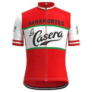 1973 대회 스페인 라 Casera 팀 남자 레트로 사이클링 저지 반팔 의류 트라이 애슬론 저지 아저씨