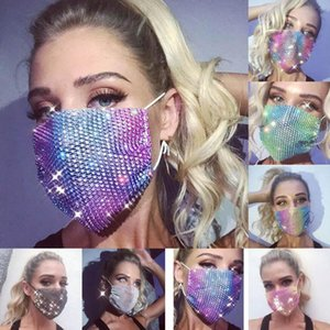 Fashion Bling Bling Sequin Rhinestone Protective Mask Dustproof Washable Windproof Reuse Face Mask Elastic Earloop Mouth Mask Jewlery DHL