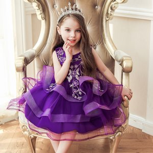 Cheap New Arrival Flower Girl Dresses Lace Applique Jewel Neck Keen Length First Communion Dresses Birthday Party Gowns with Bow Knot