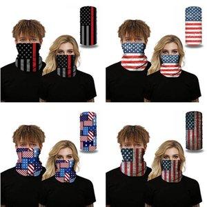 Máscaras Scarf Crânio América Bandeira Nacional ao ar livre sem emenda Face Magic Scarf Ciclismo Equitação Aqueça Lenço DHB406