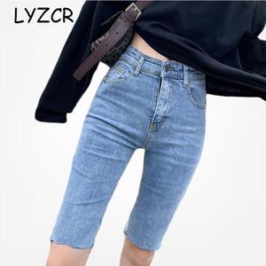 LYZCR cintura alta Verão Capris Jeans Mulheres 2020 comprimento do joelho preto Skinny Jeans Mulher Denim Calças Lápis Capri Mujer