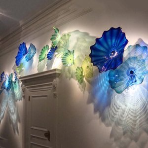Mouth Blown Glass Wall Art Plate Modern Aqua Blue Watery Theme Murano Glass Wall Art Hanging Plates Wall Lamps