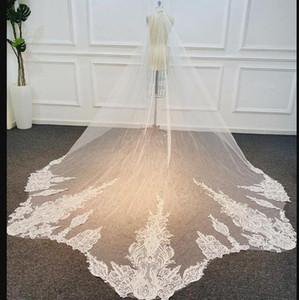 Chapelle Longueur nuptiale Veils avec appliques En Stock long mariage Veils Blanc d'Ivoire Designer Robe de Noiva Longo Veil mariage