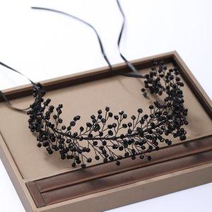AiliBride cheveux noirs vigne mariage Bandeau diadème en cristal de mariée mariage Headpiece cheveux ornements Tiara Hairband Bijoux cheveux MX200727