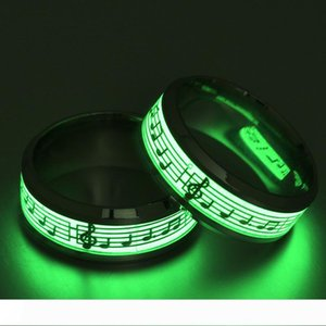 316 Titanium Stainless Steel Ring Gold Silver Color Music Musical Note Glow In The Dark Rings For Men Women Cool Jewelry