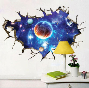 60x90cm 3D Stereo Auto-stick PVC Wall Stickers Break The Wall Space Planet Removable Waterproof Bedroom Wallpapers Home Décor HA1007