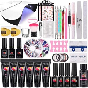 Poly Nail Gel Kit 36W Lamp 15ml 6 Colors Builder Gel Enhancement Art Extensions Nail Art Tool Salon Manicure Set