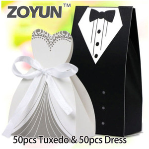100Pcs Case Tuxedo Dresses Hot Sale Wedding Party Ribbon Candy Box Groom Bridal Gift Candy Box Gifts Welfare Party Supplies