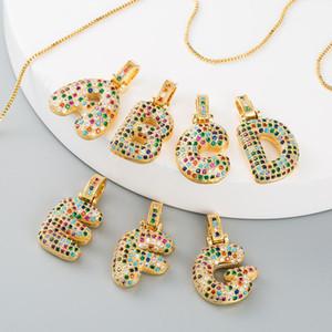 Hip Hop cristallo A-Z 26 Lettere CZ collana Zirconia Pendant per il partito di modo delle donne svegli Arcobaleno Iniziali Nome collana Wedding Jewelr