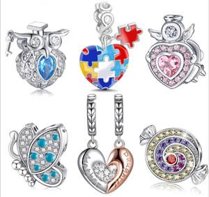 12pcs   Lot NEW Mix Fashion 100% 925 Sterling Silver Rhinestone Enamel Charms Beads Fit European Bracelet Authentic Luxury DIY Jewelry Gift