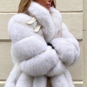 YOLOAgain winter warm thick women long real fur coat ladies turn down collar natural fur jacket