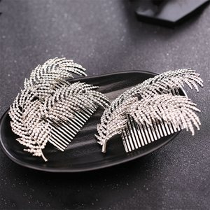 FORSEVEN Silver Color Crystal Leaf Hair Combs Jewelry Tiaras de Noiva Head Piece Hair Jewelry Wedding Accessories for Women