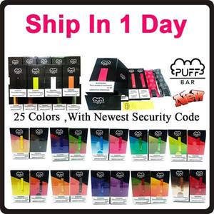 Meilleur Puff Bar à usage unique Pod appareil avec cartouche 1,3 ml Bar Puff jetable Vape Pen 25 couleurs pré-remplie Code de sécurité 280mAh Batterie