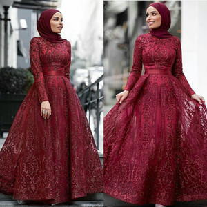 Dark Red Muslim Prom Dresses Lace Beaded Dubai Floor Length Evening Gowns Vestidos 2020 Aibye Islamic Pageant Dress