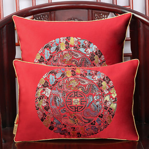 Lucky Flower Vintage Pillow Cover Cushion Cover Christmas Decorative Chinese Silk Cushions Car Sofa Chair Square Cushion Back support Pillow