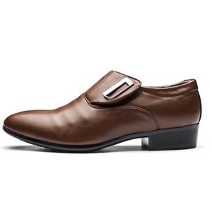 Кожа PU Мужская мода бизнес платье Мокасины Pointy Черные ботинки Оксфорд дышащие Формальное Свадебная обувь