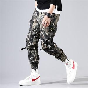 Мужские дизайнерские Камуфляж Cargo Pants Casual середины талии Street Style Длинные брюки упругие талии брюки с карманами