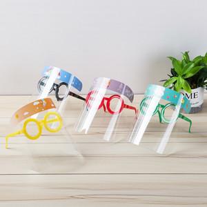 Çocuklar toz geçirmez Splashproof Koruyucu Kapak Anti-sis Şapka ile Gözlükler Ayarlanabilir HD Şeffaf Yüz Maskeleri Boş Top Hat Yüz Kalkanı