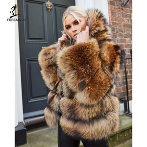 FURSARCAR 2020 Natural Real Fur Coat Women Winter Luxury 60 CM Long Raccoon Dog Fur Jacket Thick Warm Coat With Hood