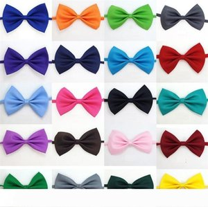New 19 colors Pet tie Dog tie collar flower accessories decoration Supplies Pure color bowknot necktie IA626
