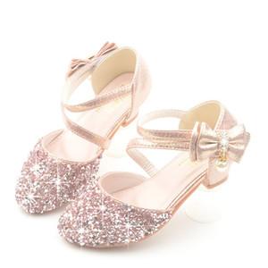 Glitter Little Girl Heels Bow Sandals 2019 Big Kids Shoe For Children Summer Leather Sandals 3 4 5 6 7 8 9 10 11 12 13 Year Old Y200619