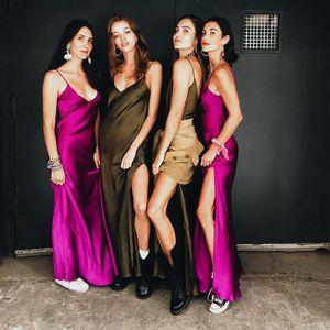 Sexy 2020 New Women Summer Dresses Slim dress with high slit and v-neck halter