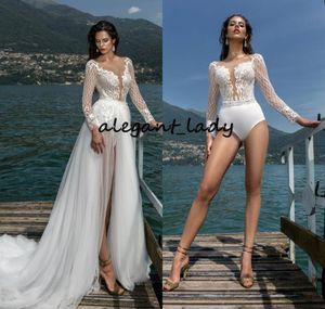 Ayrılabilir Tren 2021 Illusion Uzun Kollu Dantel Aplike Tatil Bohemian Gelinlikleri Pant Suit ile Seksi Plaj Düğün bodysuit Elbise