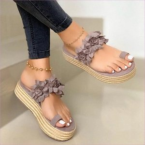 2020 Woman Slippers Lady Platform Flower Slippers Casual Beach Flip Flops Sandals Women Sandals Summer Sexy High Heel 1Hfj#