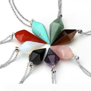 Natural Gem Stone Hexagon Pyramid Reiki Pendulum Pendant Charms Healing Chakra Amulet European Fashionable Jewelry