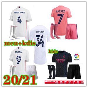 20 21 Real madrid HAZARD Soccer jersey kit 2020 2021 Benzema JOVIC Modric Sergio Ramos KROOS men and Child kids kit sports football shirt